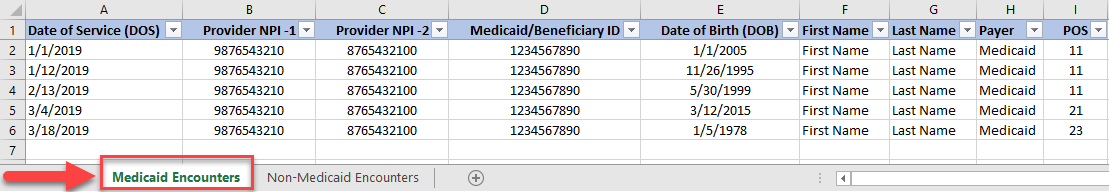 Screenshot of spreadsheet example - Medicaid Encounters tab selected