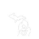 Michigan Newborn Screening icon, reversed
